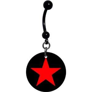 Black Red Star Belly Ring Jewelry