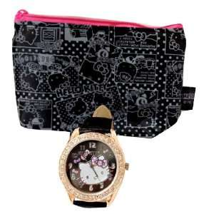 Hello Kitty Face Confetti with Rhinestone Watch Black