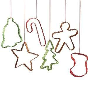 12 Multi Color Metal Cookie Cutter Christmas Ornaments