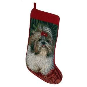 & White Shih Tzu Dog Needlepoint Christmas Stocking