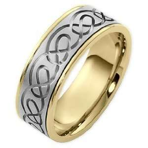 14 Karat Two Tone Gold Celtic Comfort Fit Wedding Band Ring   6.25