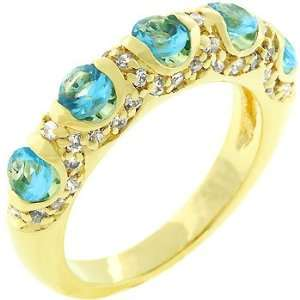 14K Gold Bonded Aqua Blue CZ Fusion Ring Jewelry