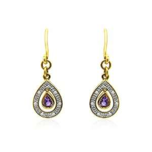 9ct Yellow Gold Amethyst & Diamond Drop Earrings Jewelry