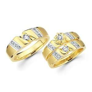 Diamond 14k Two Tone Gold Engagement Wedding Trio His and Hers 3 Ring
