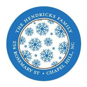 Blue Snowflakes On White And Blue Round Envelope Seals