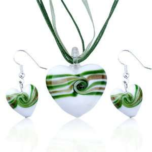 Heart Pendant And Earring Murano Glass Jewelry Set Pugster Jewelry