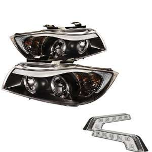 Carpart4u BMW E90 3 Series 4Dr Halo Black Projector Headlights and LED