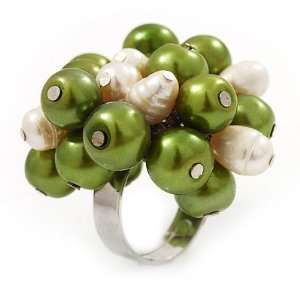Bead Cluster Silver Tone Ring (Green & Ivory)   Adjustable Jewelry