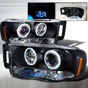 Dodge Ram Halo LED Projector Headlights   Black Blue Lens Automotive