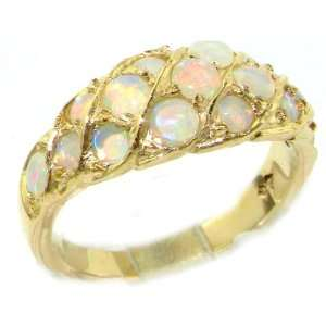 Luxury Ladies Solid Yellow Gold Natural Fiery Opal Band Ring   Size 9