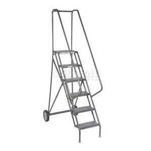 5 Step Roll And Fold Steel Rolling Ladder   Perforated