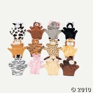 6 Plush Velour Animal Hand Puppets Toys & Games