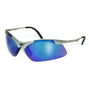 Red Matte Silver Frame, Blue Lens Safety Glasses #14484 Home