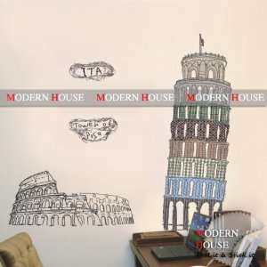 Tower of Pisa Italy removable Vinyl Mural Art Wall Sticker Wall Decal