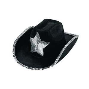 Black Felt Cowboy Hats With Silver Sequins Toys & Games