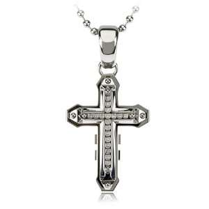 Mens Stainless Steel, Diamond Cross Necklace Jewelry