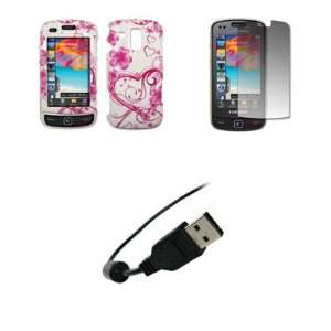 Samsung Rogue U960   Premium Pink and White Love Heart Flowers Design