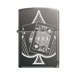 Zippo Ace and Jack of Spades Black Ice Chrome Lighter