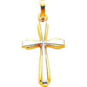 14K Two Tone Gold Cross Charm Jewelry